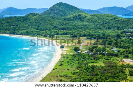Blue Sky And White Sand Of Paradise Beach In Thailand, World Famous Tourist Destination