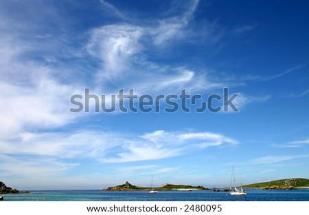 Blue sky and wispy clouds, Isles of Scilly, UK.