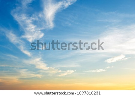 blue sky background texture with white clouds sunset. #1097810231