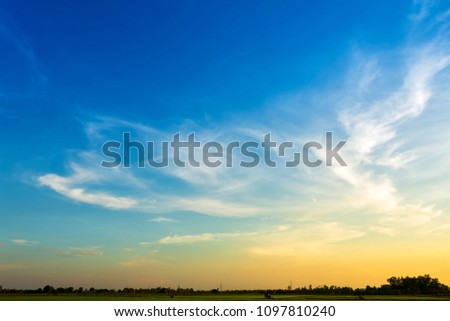 blue sky background texture with white clouds sunset. #1097810240