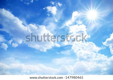 blue sky background with a tiny ...