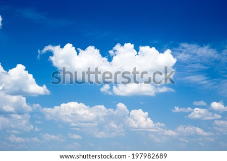 blue sky background with a tiny clouds - Shutterstock ID 197982689
