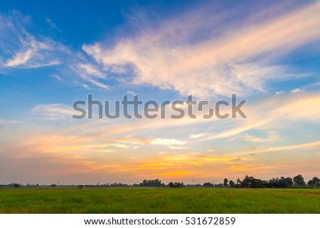 blue sky background with evening