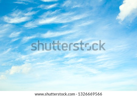 Blue sky background with tiny clouds. #1326669566