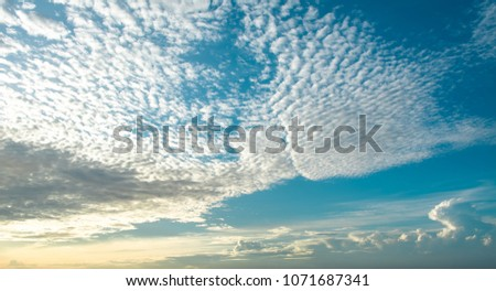 Blue Sky Background with White Clouds. Altocumulus Cloud During Sunrise.
