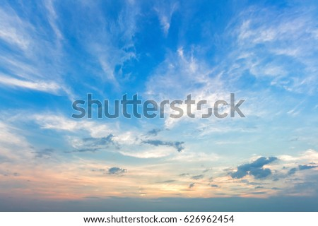 blue sky background with white clouds sunset.