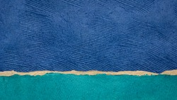 blue sky , beach and ocean  - colorful landscape abstract created with sheets of handmade textured bark paper