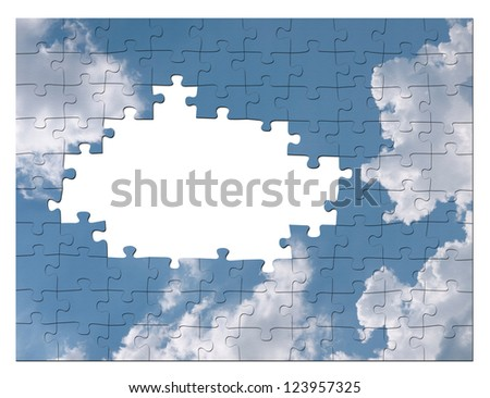 Blue sky business solution concept - cloud jigsaw