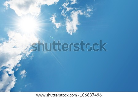 blue sky, cloud and sun
