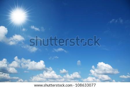 blue sky, cloud and sun