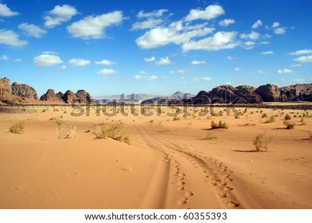Blue sky, clouds and desert in Wadi Rum, Jordan