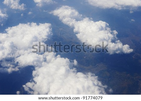 blue sky clouds view from aircraft airplane sunny day