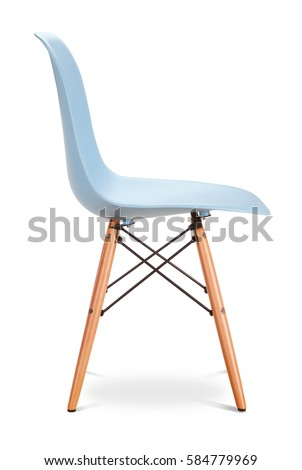 Blue, sky color chair, modern designer. Chair isolated on white background. Series of furniture #584779969