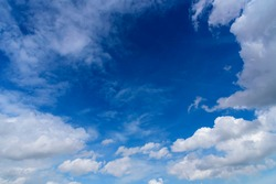 Blue sky fluffy white clouds on summer season bright clear skyline with beautiful cloudscape. Panorama blue sky clouds pattern on daylight with copy space. Cumulus cloudscape air climate sunny day