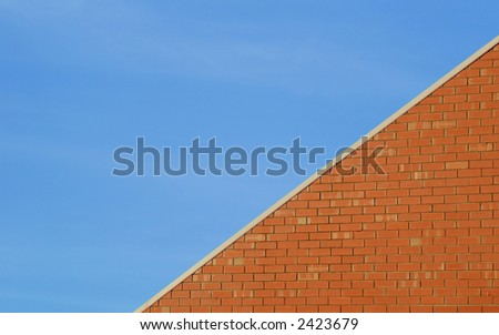 blue sky in contrast with red brick