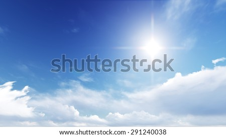 Blue sky in summer is very bright and warm. - Shutterstock ID 291240038
