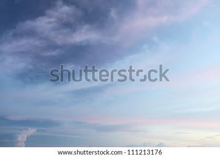 Blue sky in sunset - stock photo