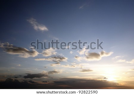 Blue sky in sunset