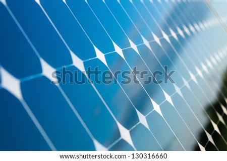 Blue Sky is reflected on the solar panels