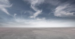 Blue Sky Landscape Background with Nice Clouds and Empty Concrete Floor