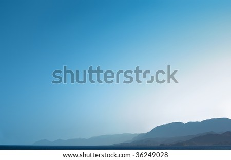 blue sky, mountains and sea backgrounds
