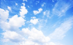 Blue sky natural wide background. Blue sky and white clouds. Beautiful blue sky background. Blue sky wallpaper. Blue sky background for your design.