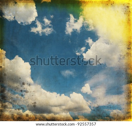 blue sky on old grunge paper ,retro background