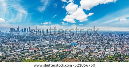 blue sky over Los Angeles, California