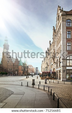blue sky over pretty city - stock photo