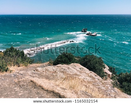 Blue sky over summer sea with sunlight reflection. Crimea, Black Sea #1165032154