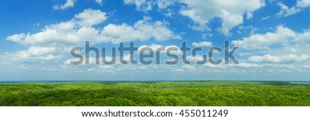 Blue sky panorama with clouds over tops of green trees #455011249