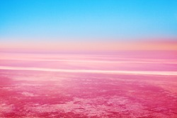 Blue sky, pink red clouds background, colorful sunrise, sunset landscape, pink cosmic planet horizon, fantasy dawn in outer space, abstract cosmos backdrop, purple celestial view, atmospheric heaven