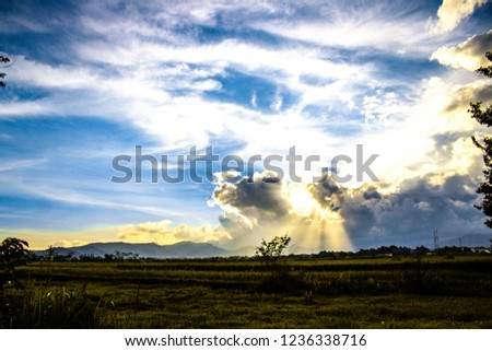 blue sky view, mountain sunset view, yellow sky view #1236338716