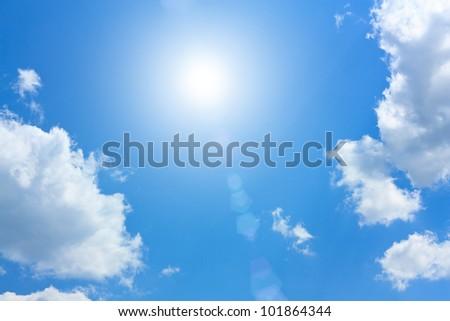 Blue sky with beautiful cumulus clouds and bright sun