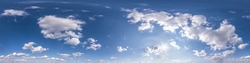 blue sky with beautiful fluffy clouds without ground. Seamless hdri panorama 360 degrees angle view for use in 3d graphics or game development as sky dome or edit drone shot
