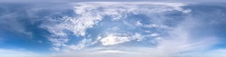 blue sky with beautiful fluffy cumulus clouds. Seamless hdri panorama 360 degrees angle view without ground for use in 3d graphics or game development as sky dome or edit drone shot