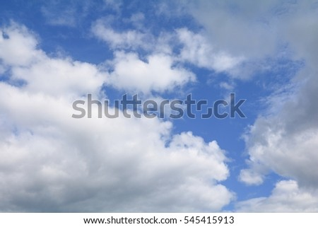 blue sky with big cloud and raincloud, art of nature beautiful and copy space for add text #545415913