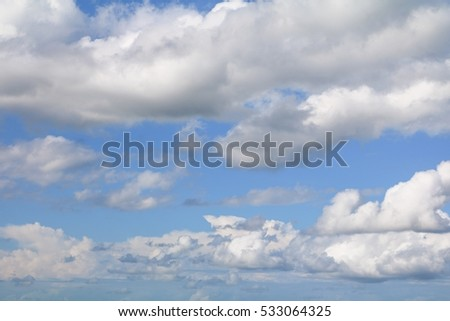 blue sky with big cloud and raincloud, art of nature beautiful, copy space for add text #533064325