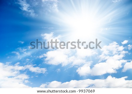 Blue sky with bright sun.