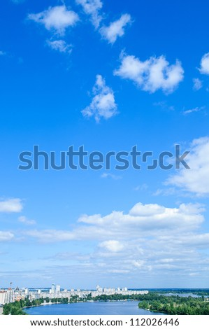 blue sky with cloud. a city with tall buildings. Kiev. Ukraine