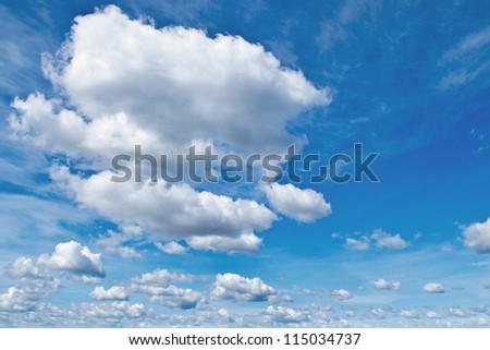 blue sky with cloud. a city with tall buildings. Kiev. Ukraine