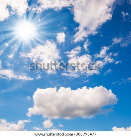 blue sky with cloud closeup #308993477