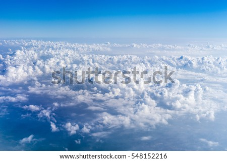 blue sky with cloud view out of airplane  #548152216