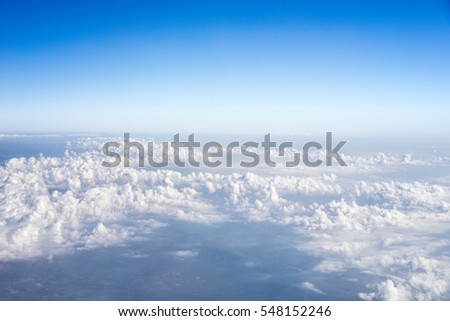 blue sky with cloud view out of airplane #548152246