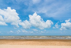 blue sky with clouds and beach