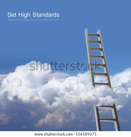 Blue sky with clouds and ladder, way to success concept #156509375