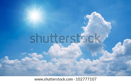 Blue sky with clouds and sun. #102777107