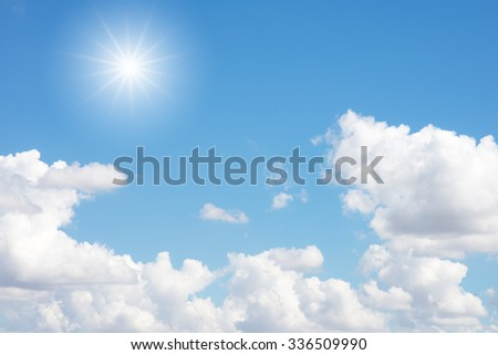 Blue sky with clouds and sun #336509990