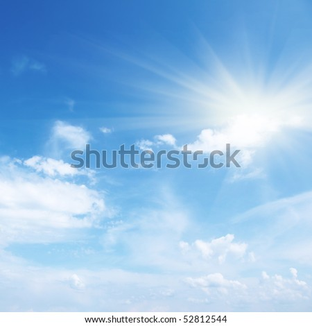 Blue sky with clouds and sun. #52812544