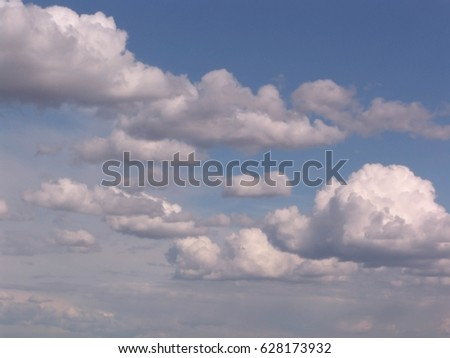 Blue sky with clouds and sun #628173932